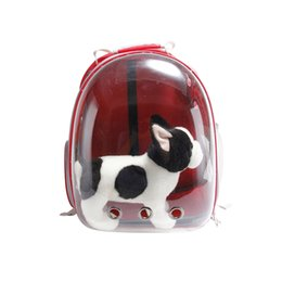 $enCountryForm.capitalKeyWord NZ - 1PCS Pet Carrier Backpack for Small Cart & Dog Transparent PET Space Capsule Carrier Backpack Red,Yellow,Blue,Black,Green Color