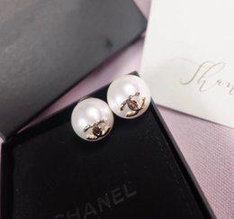 18k pearl online shopping - 2019 Luxurious quality pearl bead stud earring logo or women wedding gift jewelry PS6806A