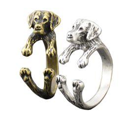 Punk Rings UK - Vintage Retro Style Punk Labrador Retriever Dog Wrap Rings For Women Anel Mid Finger Animal Pet Puppy Ring Men Children Jewelry Wholesale