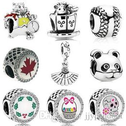 sterling silver panda charm Australia - FAHMI 925 Sterling Silver 1:1 Baseball Panda Rabbit Marquis Bead Day of the Dead Merry Christmas Easter Basket Charm