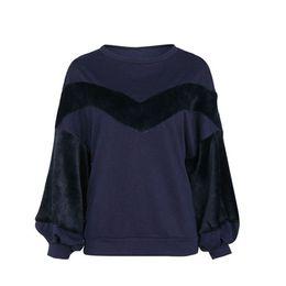 o shape 2019 - autumn Fashion New Women Casual Round Neck V-shape Wool Top Joint Blouse Lantern Sleeve Sweatshirt discount o shape
