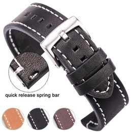 Wholesale Cowhide Genuine Leather Watchband Belt mm Men Women Thick Handmade Retro Watch Band Strap Metal Buckles