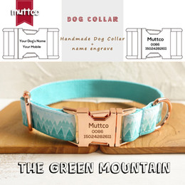 metal dog collars Canada - MUTTCO retailing unique style collar engraved metal buckle THE FOREST PLAID cotton Customized dog collar 5 sizes UDC015M
