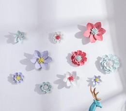 $enCountryForm.capitalKeyWord Australia - Modern Minimalist Ceramic Flowers Wall Mural Crafts Decoration 3D Three-dimensional Wall Stickers Creative Wall Hanging Ornament
