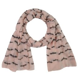 Wholesale Fashion Halloween scarf Masquerade Party bat printing scarf cotton soft and breathable Wan Christmas Christmas Accessories