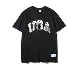 Discount usa t shirt designs High quality brand 100% cotton white black short sleeve casual loose t shirts for men wome with USA design