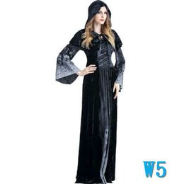 Gothic witch clothinG online shopping - Halloween Designer Women Dresses for Halloween Costumes Horror Witches Cosplay Clothing Fashion Suits with Cloak dressesW5