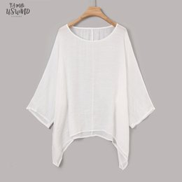 womens linen clothing plus size UK - Plus Size Summer Womens Irregular T Shirts Casaul Solid Long Sleeve Tshirt Woman Ladies Tops Womens Korean Fashion Clothing