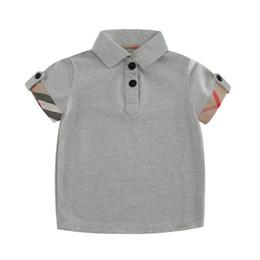 England T Shirts UK - Boy POLO Shirts Summer Cotton Short Sleeve Shirt for Kids England Style Plaid T-Shirt Casual Turn-down Collar Tops
