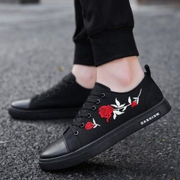 new trend men fashion shoes 2019 - neujge 2019 spring new Korean version of the trend canvas flat bottom shoes casual fashion embroidery lace-up men shoes