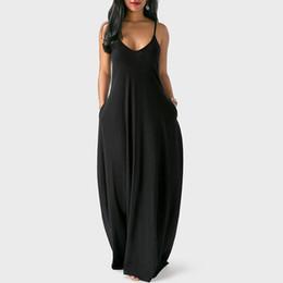 $enCountryForm.capitalKeyWord UK - Yellow Black Spaghetti Strap Dress Women Maxi V-neck Solid Color Backless Clubwear Womens Plus Size Dresses For Ladies 5xl designer clothes