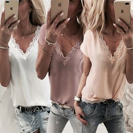Women Blouse Style T Shirt Australia - 2019 New style women tops fashion solid color short sleeve chiffon t-shirt ladies sexy v-neck blouses