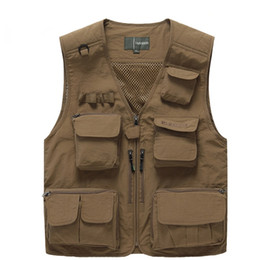 Wholesale men work vest for sale - Group buy men outdoor multi pocket vest photography fishing vest Many Pockets Casual Photographer Work Sleeveless Jacket