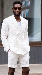 Discount short winter wedding dress jacket - WL Men's Suits Street Beach 2018 Business Wedding Suits Linen Latest Coat Shorts Design Summer Jacket Men's Cl