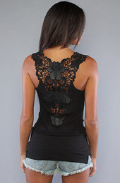 $enCountryForm.capitalKeyWord Australia - Summer New Womens T-shirt Sexy Lace Vest Top Crochet Back Hollow-out Vest Camisole Black&white Sleeveless Shirt Y19042801