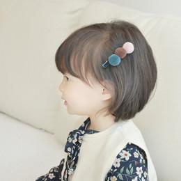 $enCountryForm.capitalKeyWord Australia - Cute Kids Snap Hair Clips For Girls Three Colors Tandem Ball Pompom Hair Pins Barrettes Headwear Baby Children Hair Accessories