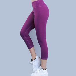 Cotton Print Material NZ - Eshtanga capris women sports crop top quality Solid High Elastic Waist Thick Material Bodybuilding Yoga skinny pants #308374