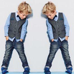 Shirt Vest Jeans Australia - Handsome Boys Denim Clothing Sets Spring Kids Clothes Brands Three Piece Shirt+Vest+Jeans Handsome Conjunto Menino