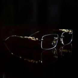 Großhandel Mode Optische Frames Leopard Gold Büffel Horn Brille Frauen Brillen Männer Sonnenbrille Designer Gläser Klare Linse Frameless mit Box