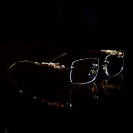 高級デザイナーサングラス眼鏡フレームの寺院のパンサーの頭部のメタルフレームレスのフルリム半縁の女性眼鏡アクセサリー