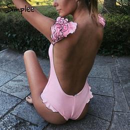 $enCountryForm.capitalKeyWord NZ - Simplee Sexy red push up women bodysuit Summer style ruffle sleeve rompers Two piece playsuit beach swimwear female bathing suit Y190424
