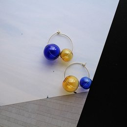 Discount stun glasses - Candy Color Double Glass Balls Mini Hoop Earrings For Women 2019 Stunning Unique Korean Cool Bubbles Earrings femme bijo