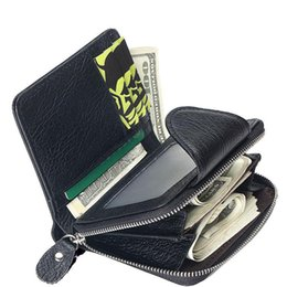 0ec14334468 good quality 100% Genuine Leather Cowhide Men Black Coin Purse Card Holder  Male Wallets Big Capacity Short Purse With Zipper Pocket