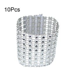wholesale diamond mesh roll UK - 10Pcs Mesh Trim Bling Diamond Wrap Cake Napkin Ring Roll Crystal Ribbons Party Wedding Table Decoration Party JS23