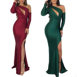 24bf113ee7e 2019 New Arrival Burgundy Green Mermaid Evening Dresses Sexy One Shoulder Long  Sleeves Holes Bust Side Slit Club Party Dress Floor Length