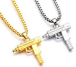 Stainless Steel Jewelry Boxes Australia - New Fashion Men's Machine Gun Pistol Pendant Necklace 18K Gold Plated Stainless Steel Hip Hop Necklace Jewelry Box Chai