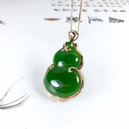 Bare Chain Australia - 18K gold Jasper Gourd pendant, Shenzhen craft, heavy gold model, bare stone 18 * 25mm, send silver chain, certificate, gift box