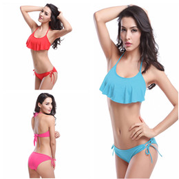 $enCountryForm.capitalKeyWord UK - 2019 2 Sets Swimsuit Hot Sale Bikini Set Wholesale Flounced Top Strappy Ties Set Removable Padding Lady Swimwear