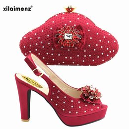 Wine Color Shoes Australia - 2019 Wine Color African Women Shoes And Bag Set With Rhinestones Pumps Italian Shoes With Matching Bag For Evening Party Wedding #37546