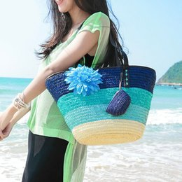 straw bag hand weaving Canada - Color Straw Composite bag hand-woven shoulder bag beach fashion women