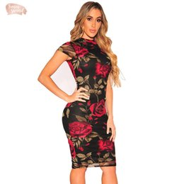Wholesale black bandage midi dress resale online – Plus Size Bandage Dress Sexy Party Dress Pencil Floral Print Knee Length Black Midi Dresses Bodycon Women Dress