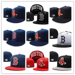 5e40aca7db9 Top Sale New Boston Red Sox In Navy Blue Color Fitted Flat Hats Red B Letter  Embroidered Closed Caps
