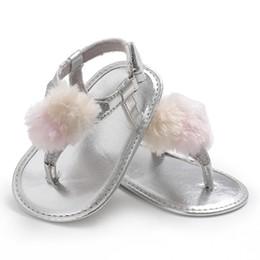 Infant Prewalkers Australia - Summer Newborn Baby Girls Fur Ball Bow Infant Sandals Non-slip Crib Shoes Soft Sole Shoes Prewalkers Toddler Sneakers