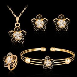 $enCountryForm.capitalKeyWord Australia - Beautiful Black Peach Blossom Pendant Women Girls Necklace Earrings Ring Bracelet Fashion Bridal Jewelry Sets Wedding