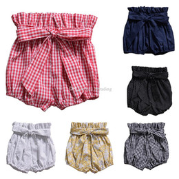 Infant Bloomers Australia - Baby Floral Plaid Bow Shorts Toddler ruffle PP Pants kids Bloomers 2019 Summer Infant Bread pants 6 colors C6261