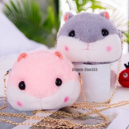 Cute anime baCkpaCks online shopping - Plush Backpacks Hamster Doll Bags Kids Plush Toys Purse Squirrel Hamster Shoulder Bag Cute Pink Gray Plush Animals Bag