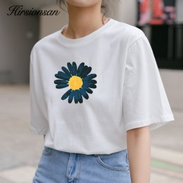korean printed t shirt Canada - Hirsionsan Floral Print T Shirt Women 2020 New Vintage Aesthetic Oversized Cotton Tshirts Korean Soft Casual Tops Harajuku Tees