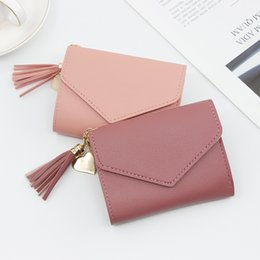 $enCountryForm.capitalKeyWord Australia - Women's wallet short fashion clutch bag large capacity little girl zipper bag elegant tassel coin purse