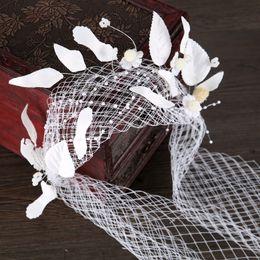 $enCountryForm.capitalKeyWord NZ - Pearl Women Forehead Headband Head feather Headpiece Rhinestone lace Tiara Vines Bridal Wedding Hair Jewelry