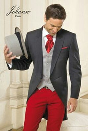 $enCountryForm.capitalKeyWord NZ - Grey Tailcoat Mens Suits Red Pants Wedding Groom Tuxedos Morning Dinner Groomsmen Wear Man Blazers Jacket Formal three-Pieces Costume Homme