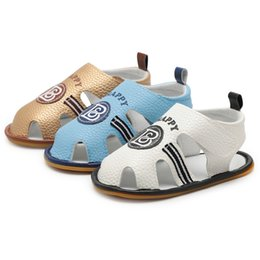 Boy Sandals Canada - Summer Baby Sandals Toddler Infant Baby Boy Letter Roman Crib Shoes Soft Sole Anti-slip Single Shoes Baby Boy Sandals M8Y29#F
