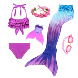 pink mermaid costume Australia - 2019 Hot Girls Swimmable Mermaid Tails for Swimming Kids Bating Suit Mermaid Costume Swimsuit can add Fin Goggle Or Garland