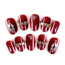 Vente en gros 24pcs ongles brillants faux ongles cristal rouge brillant mariée mariage court conception faux ongles art conseils