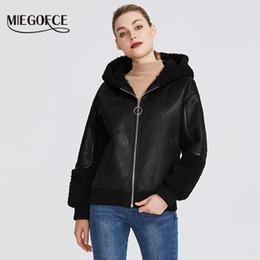 Wholesale faux fur lined hood resale online - MIEGOFCE New Winter Women s Collection Faux Fur Jacket Women Sheepskin Coat Style Unusual Colors Knee Length Windproof Hood CJ191214