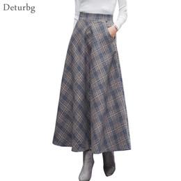 23fd9050b2c0 Japanese Style Vintage Plaid Long Skirt For Women Streetwear Zipper Elastic High  Waist Pocket Woolen Skirts 2018 Winter Sk242 Y190428