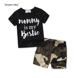 Organic Baby T Shirts Wholesale NZ - baby boy sets 2 pieces suits baby black shorts sleeveless T-shirts + camouflage shorts sets boy summer clothes